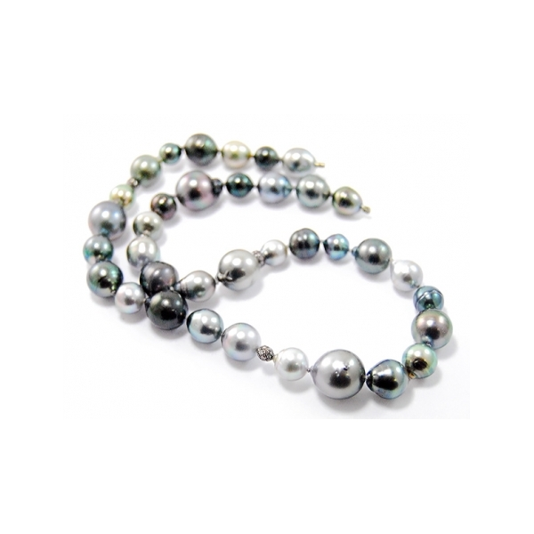 Tahitian Pearl and Diamond Strand - Designer: GellnerStyle: Tahitian Pearl and Diamond StrandPearls: 34 baroque to spherical Tahitian cultured pearls, 8-15mm, in varying hues of silvery-grey, green and dark blue, high luster and slightly blemished - one pearl as vario claspDiamonds : 3  black rhodium plated sterling silver stations set with round brilliant-cut diamonds Length: 17 inches