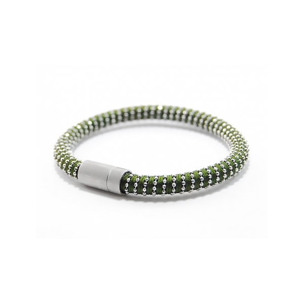 Sage Green Twister Bracelet - Designer: Carolina BucciStyle: Sage Green Twister BraceletMetal: 0.925 sterling silver with sage green silk, magnetic claspLength: 7 inches
