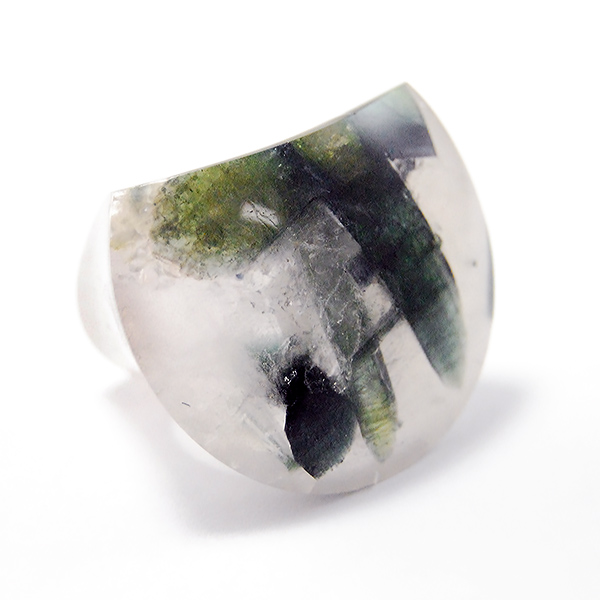 Green Tourmaline in Quartz Ring - Designer: HochstrasserStyle: Green Tourmaline in Quartz RingDimensions: 1.25 x 1.50 inchesFinger Size: 8 US