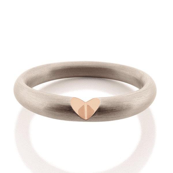 Heart Ring - Designer: Antonio BernardoStyle: Heart RingMetal: Sterling silver, matte finish and 18-karat rose goldFinger Size: 6 US