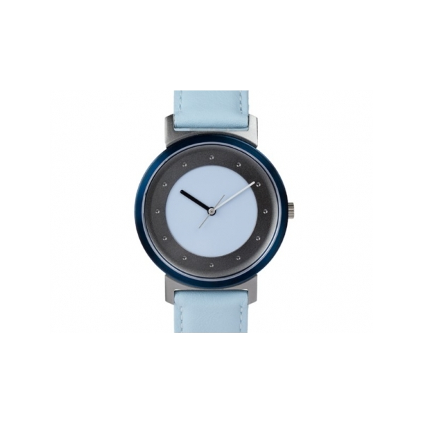 Shades of Grey Watch - Designer: QuantuzStyle: Shades of GreyMaterials: Stainless steel and anodized aluminum, sapphire crystal and Swiss movementStrap: calf-leather, light blue
