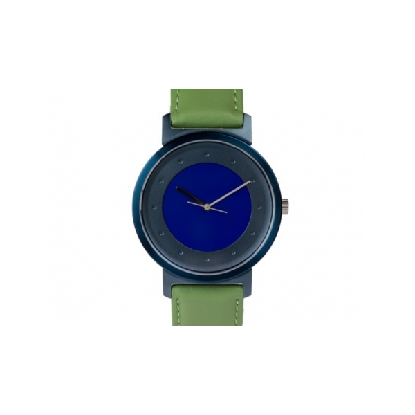 Shades of Grey Watch - Designer: Quantuz Style: Shades of GreyMaterials: Stainless steel and anodized aluminum, sapphire crystal and Swiss movementStrap: calf-leather strap, green