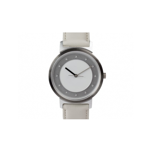 Shades of Grey Watch - Designer: Quantuz Style: Shades of GreyMaterials: Stainless steel and anodized aluminum, sapphire crystal and Swiss movementStrap: calf-leather strap, white