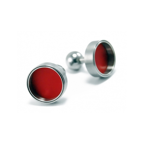 Cufflinks - Designer: Carl Dau Style: CufflinksMetal: Stainless steel with red varnish interiorDiameter: 16mm