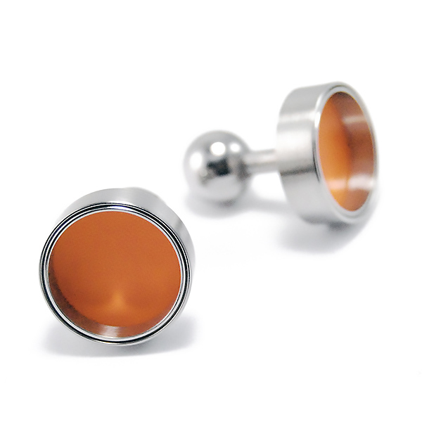 Cufflinks - Designer: Carl Dau Style: CufflinksMetal: Stainless steel with orange varnish interiorDiameter: 16mm