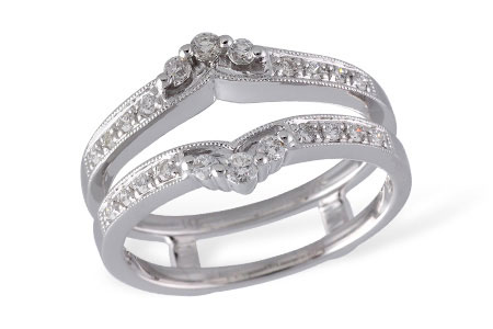 Wedding Band - Ladies 14 karat white gold diamond ring guard. 0.28cttw H color and SI2 clarity.