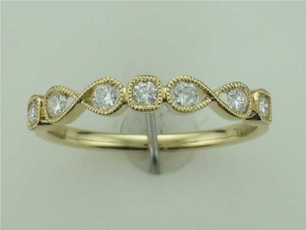Wedding Band - 14KT YELLOW GOLD MILLGRAIN STACKABLE DIAMOND BAND 0.25CTTW H COLOR AND VS2 CLARITY