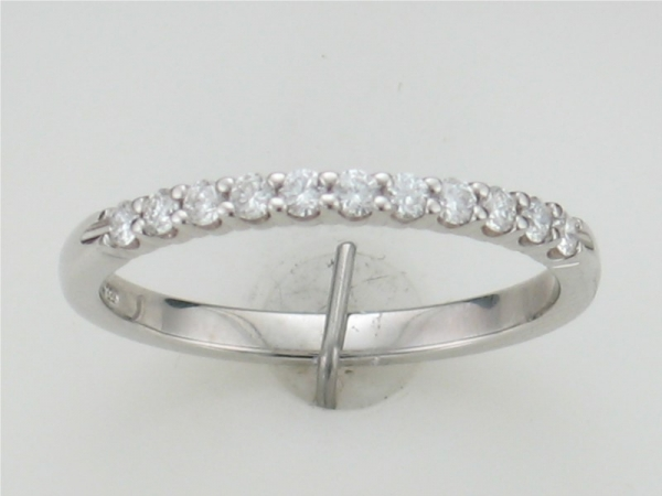 Wedding Band - 14kt white gold share prong diamond wedding band containing 11  round brilliant diamonds 0.25cttw H color SI2 clarity