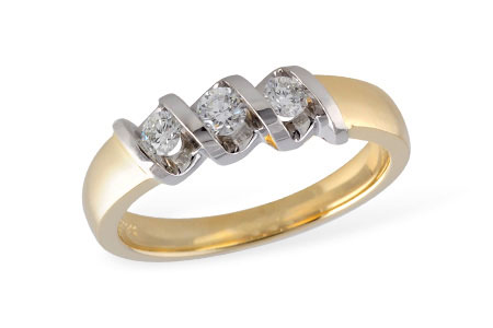 Anniversary Ring - Lady's Two-Tone 14 Karat Channel Set Anniversary Ring With 3=0.25Tw Round H Si2 Diamonds