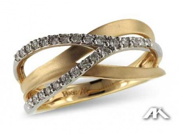 Fashion Ring - Lady's Two-Tone white and yellow gold 14 Karat Fashion Ring With 17=0.25Tw Round G/H SI2 Diamonds