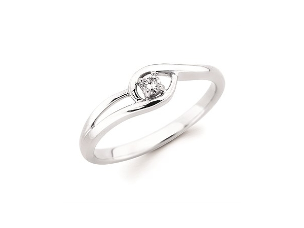 Fashion Ring - Ladies 10 karat white gold diamond promise ring .05ct. H in color I2 clarity.