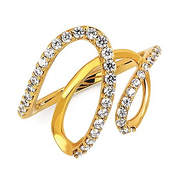 Fashion Ring - Ladies 14 karat yellow gold diamond fashion ring 32=.38ct. twt. H in color SI2 clarity.