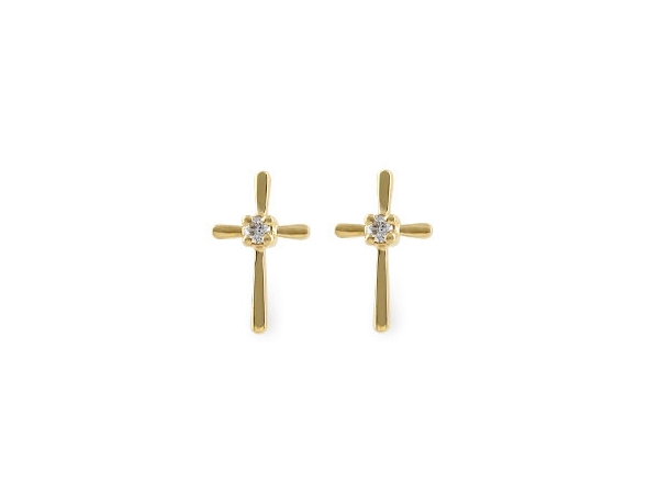 Earrings - Lady's yellow gold 14 karat cross earrings with 2=0.04tw round h si1 diamonds