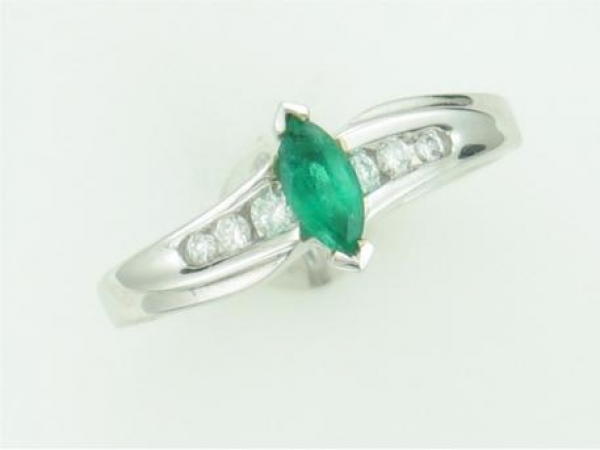 Fashion Ring - LADIES 14K WHITE GOLD MAR EMERALD RING WITH       EMERALD AND 00.13 TWT DIAMOND