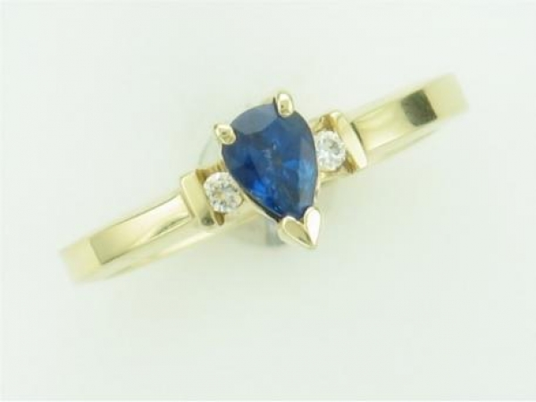 Fashion Ring - LADIES 14K GOLD YG  GENUINE SAPPHIRE RING WITH 00.50 CT  SAPPHIRE AND 00.04 TWT DIAMOND.