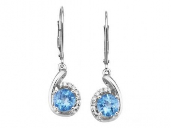 Earrings - Lady's White 14 Karat Earrings With 2= Round Blue Topazs And 14=0.11Tw Round H/I I1 Diamonds