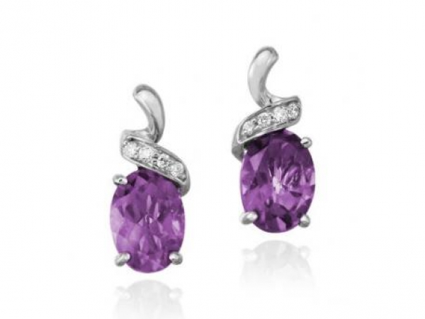 Earrings - Lady's White 14 Karat Earrings With 2= Oval Amethysts And 8=0.04Tw Round H/I I1 Diamonds