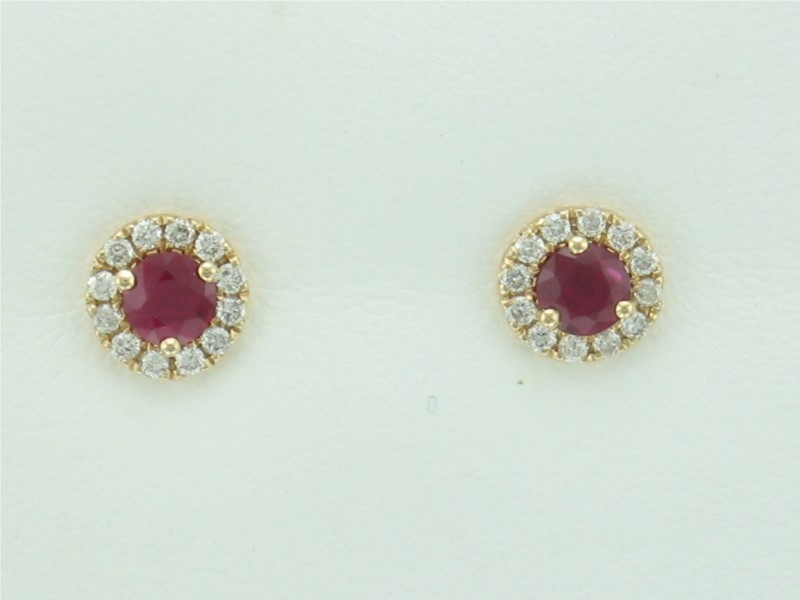 Earrings - Ruby &  Diamond ER - 1 Round Ruby & 12 Round White Diamonds SI2 Clairty H Color