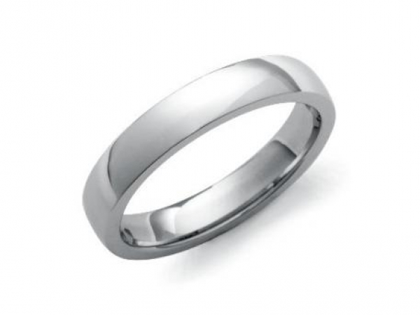 Wedding Band - This 14kt white gold high polished dome wedding band is 6mm wide. Ring can be customized to 5-8mm width.