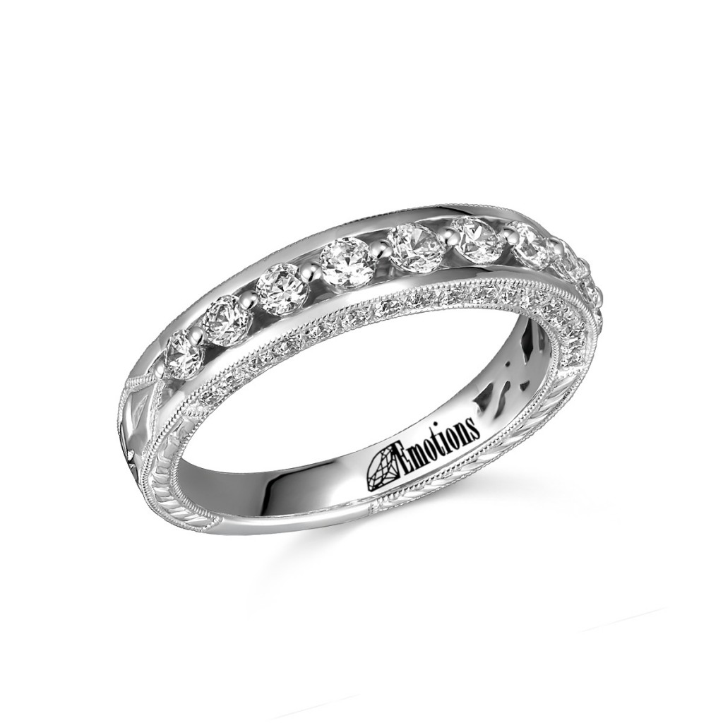 Jewelry - This design has .84Cts TW in diamonds. This elegant diamond band has a delicate milgrain edge and is the perfect complement to the matching engagement ring.