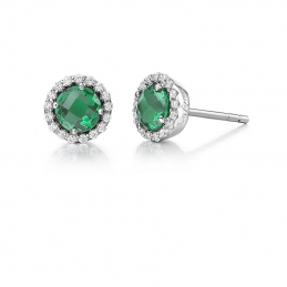 Jewelry - S SILVER EARRINGS SIMULATED EMERALD SIMULATED DIA