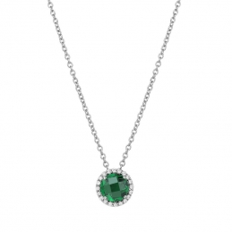 Jewelry - S SILVER SIMULATED EMERALD SIMULATED DIA - SS CHAIN INCLUDED