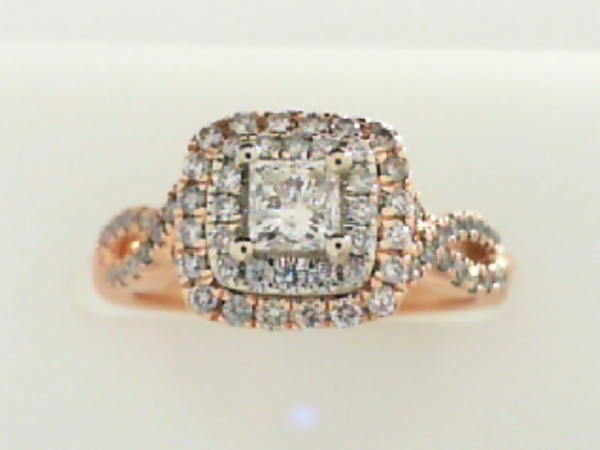 Bridal Jewelry - ROSE GOLD DIAMOND HALO ENGAGEMENT RING