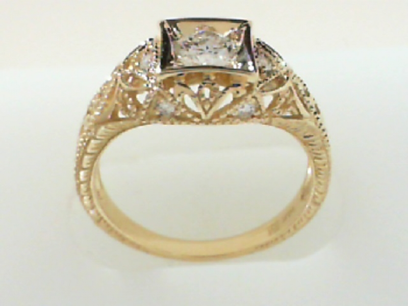 Bridal Jewelry - REPRODUCTION ESTATE FILIGREE DIAMOND RING - image #2