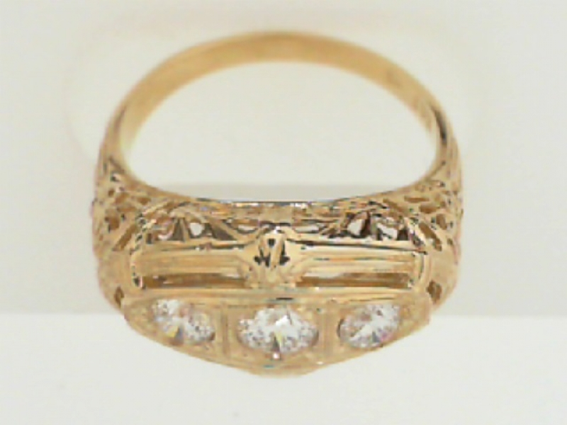 Rings - ESTATE REPLICA FILIGREE DIAMOND RING - image 2