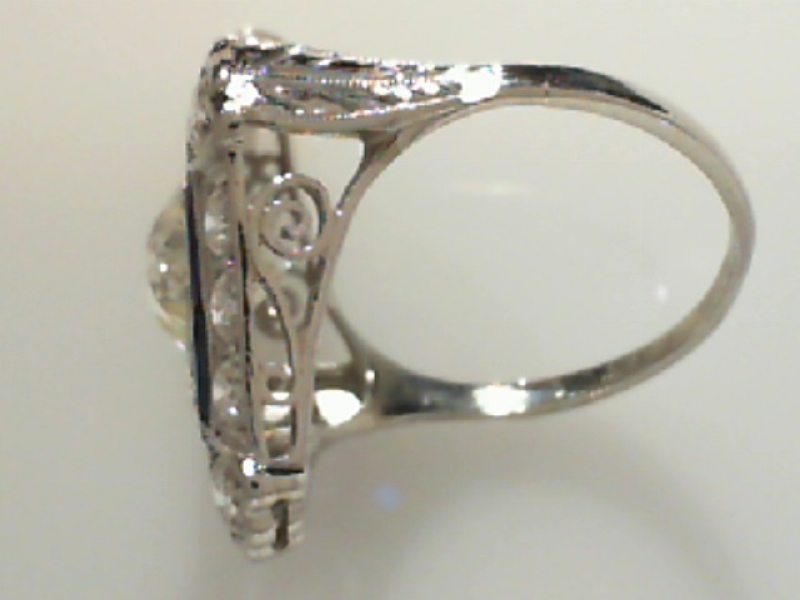Estate & Vintage Jewelry - PLATINUM ESTATE DIAMOND & SAPPHIRE RING - image #3