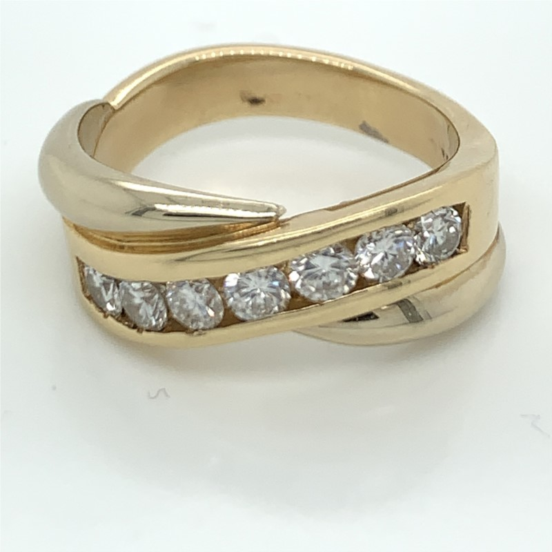 Wedding Band - Gent's Two Tone 14 Karat Channel Set Wedding Band With 7=1.00Tw Round Diamonds