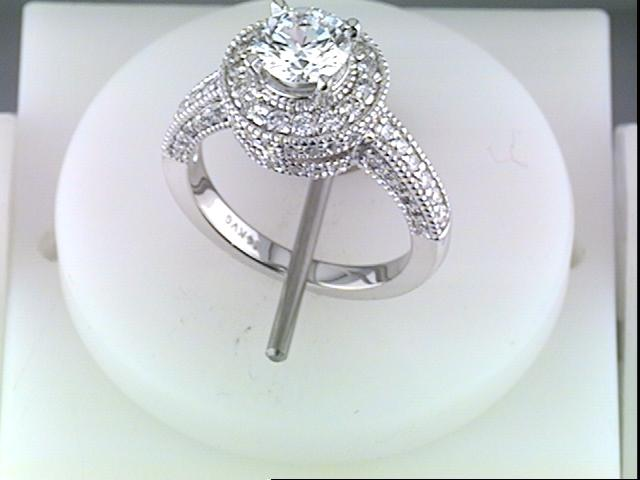 Ring - White 14 Karat Bezame Cz Center Ring With 0.91Tw Round Diamonds