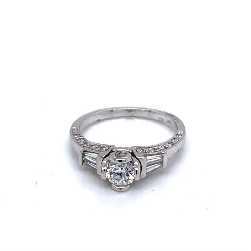 Ring - White 14 Karat Bezame Cz Center Ring With 0.42Tw Round Diamonds