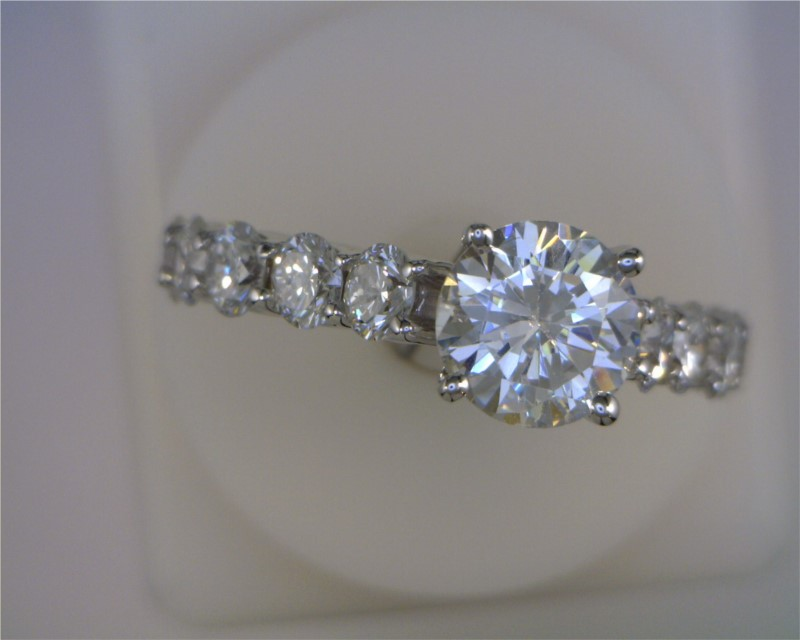 Ring - White 18 Karat Flush Fit Ring With 10=1.53Tw Round Diamonds