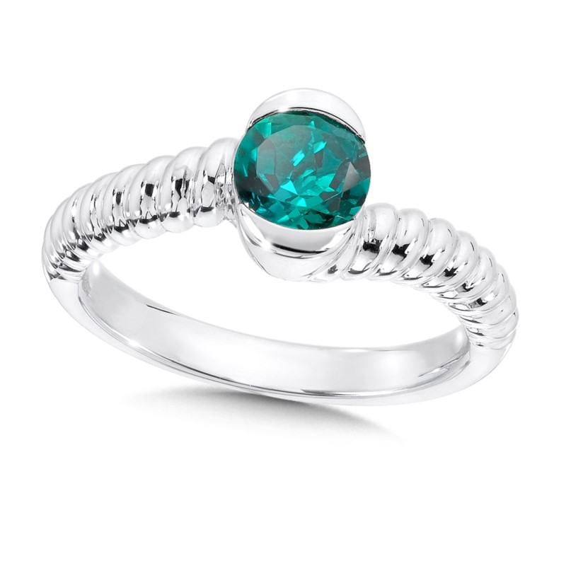 Fashion Ring - Lady's Created Emerald Sterling By Pass Fashion Ring