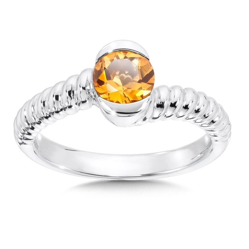 Fashion Ring - Lady's Citrine Sterling Silver By Pass Fashion Ring