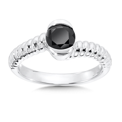 Fashion Ring - Lady's Onyx Sterling Silver By Pass Fashion Ring
