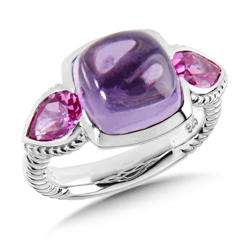 Fashion Ring - Lady's Amethyst And Created Pink Sapphire Sterling Silver Three Stone Fashion Ring