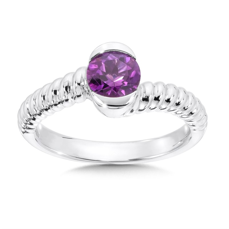 Fashion Ring - Lady's Amethyst Sterling Silver By Pass Fashion Ring