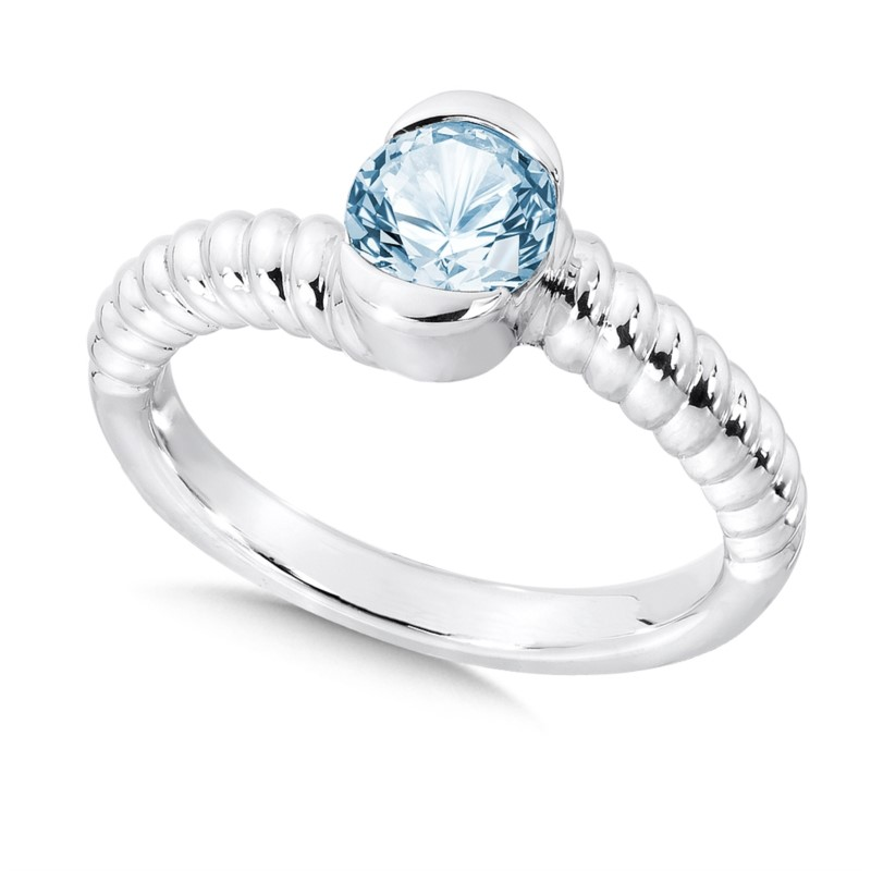 Fashion Ring - Lady's Aquamarine Sterling Silver By Pass Fashion Ring