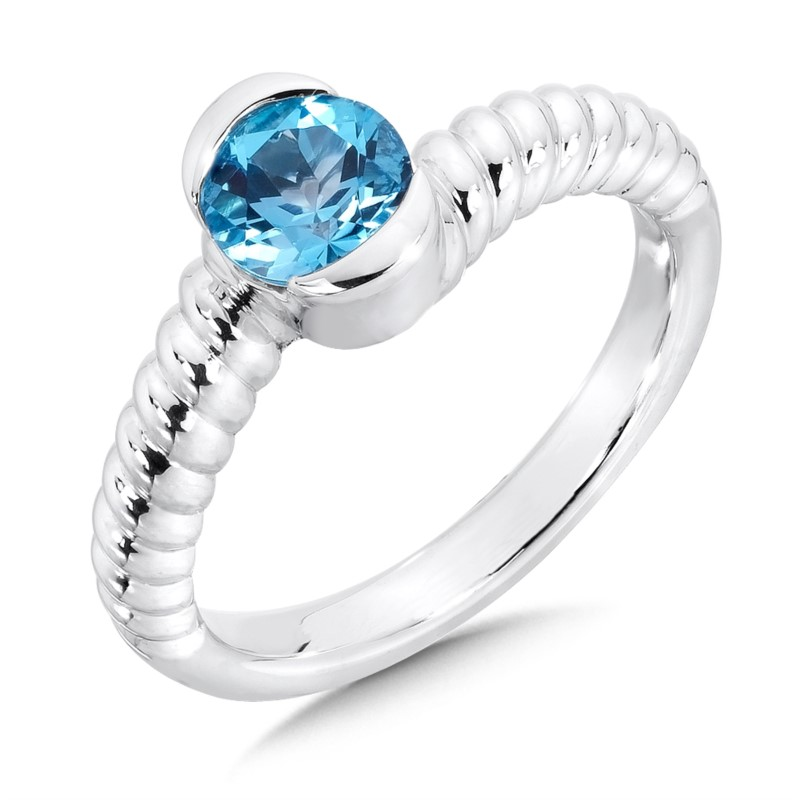Fashion Ring - Lady's Aqua Sterling Silver By Pass Fashion Ring