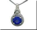 Pendants - Lady's White 14 Karat Cluster Pendants With One 0.80Ct Round Tanzanite And 0.13Tw Round Diamonds
