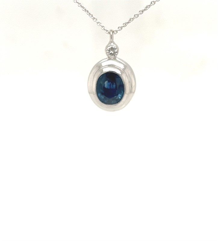 Necklace - Lady's White 14 Karat Custom Necklace With One 2.50Ct Oval Sapphire And 5=0.48Tw Round Diamonds