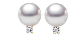 Earrings - Lady's Yellow 14 Karat Stud Earrings With 2=6.00-6.50Mm Fresh Water Pearls And 2=0.06Tw Round Diamonds