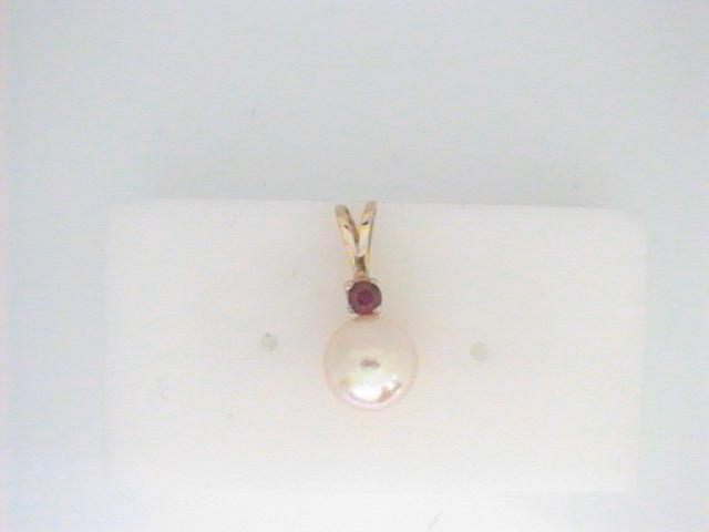 Pendant - Lady's Yellow 14 Karat Drop Pendant With One 8.00Mm Cultured Pearl And One 3.00Mm Round Ruby