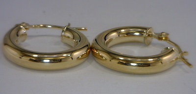 Earrings - Lady's Yellow 14 Karat Medium Hoop Earrings