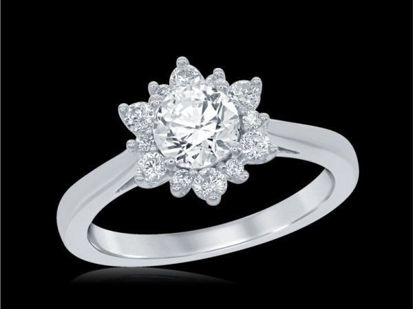 Engagement Ring - 14KW CTR=.76CT SD=.24CTW 'ENCHANTED' SNOWFLAKE FAIRYTALE RING
