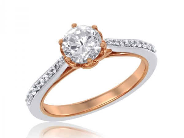 Belle Ring - 14KW&R CTR=.81CT SD=.19CTW 'ENCHANTED' BELLE RING
