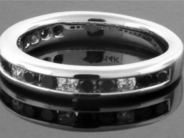 Anniversary Ring - 14KW .70CTW BLK/WHT DIAMOND BAND