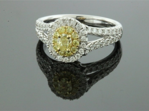Fashion Ring - 18KW YD=.40CTW SD=.65CTW LDS DIAMOND RING